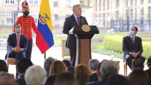 El Presidente Iván Duque durante la sanción de la Ley. Foto: Minhacienda